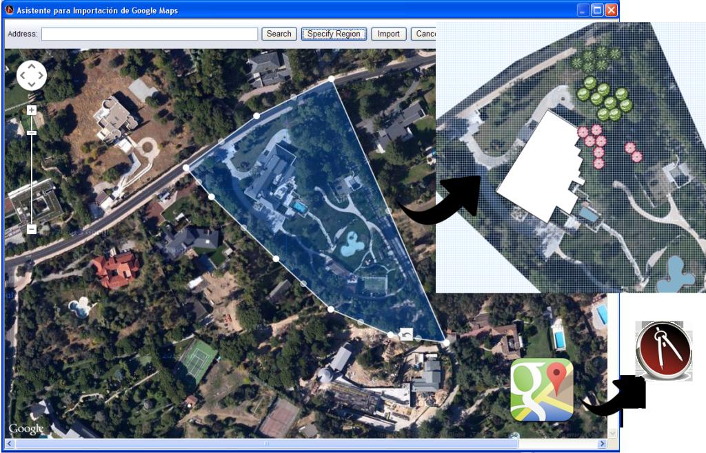 Importar imagen de google maps