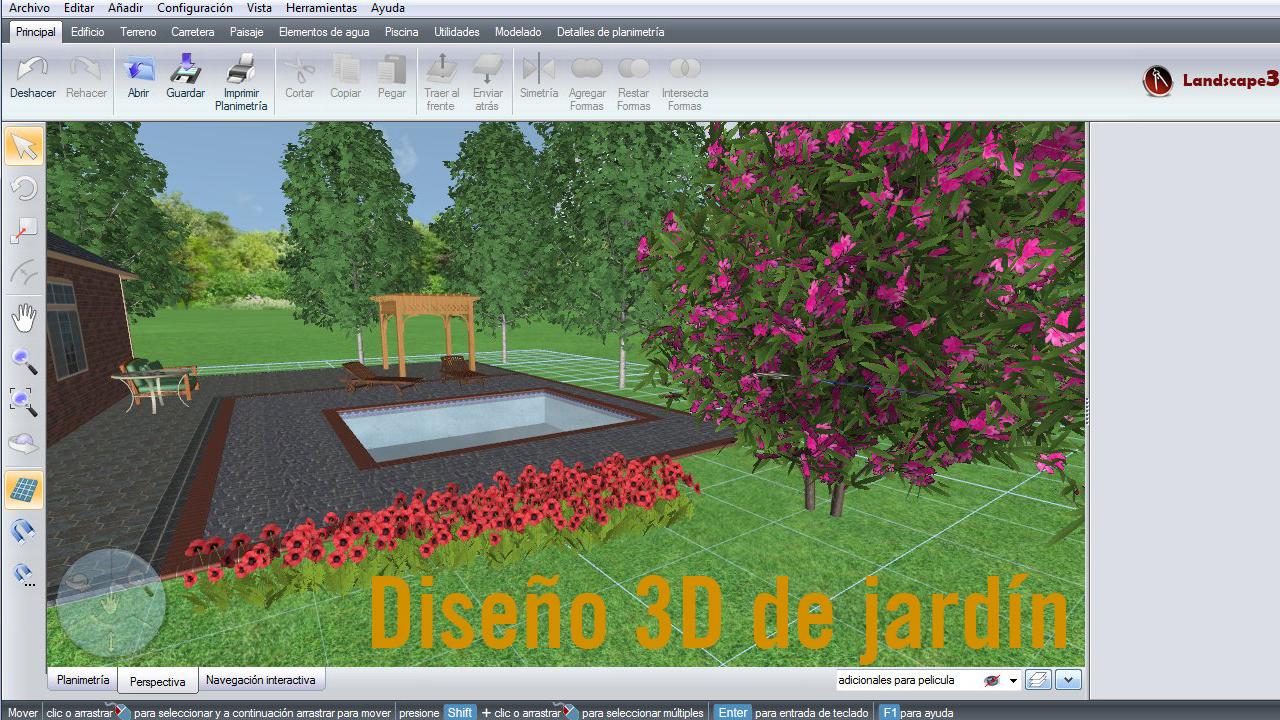 Dise o 3d de jard n y vivienda unifamiliar landscape for Programas diseno jardines