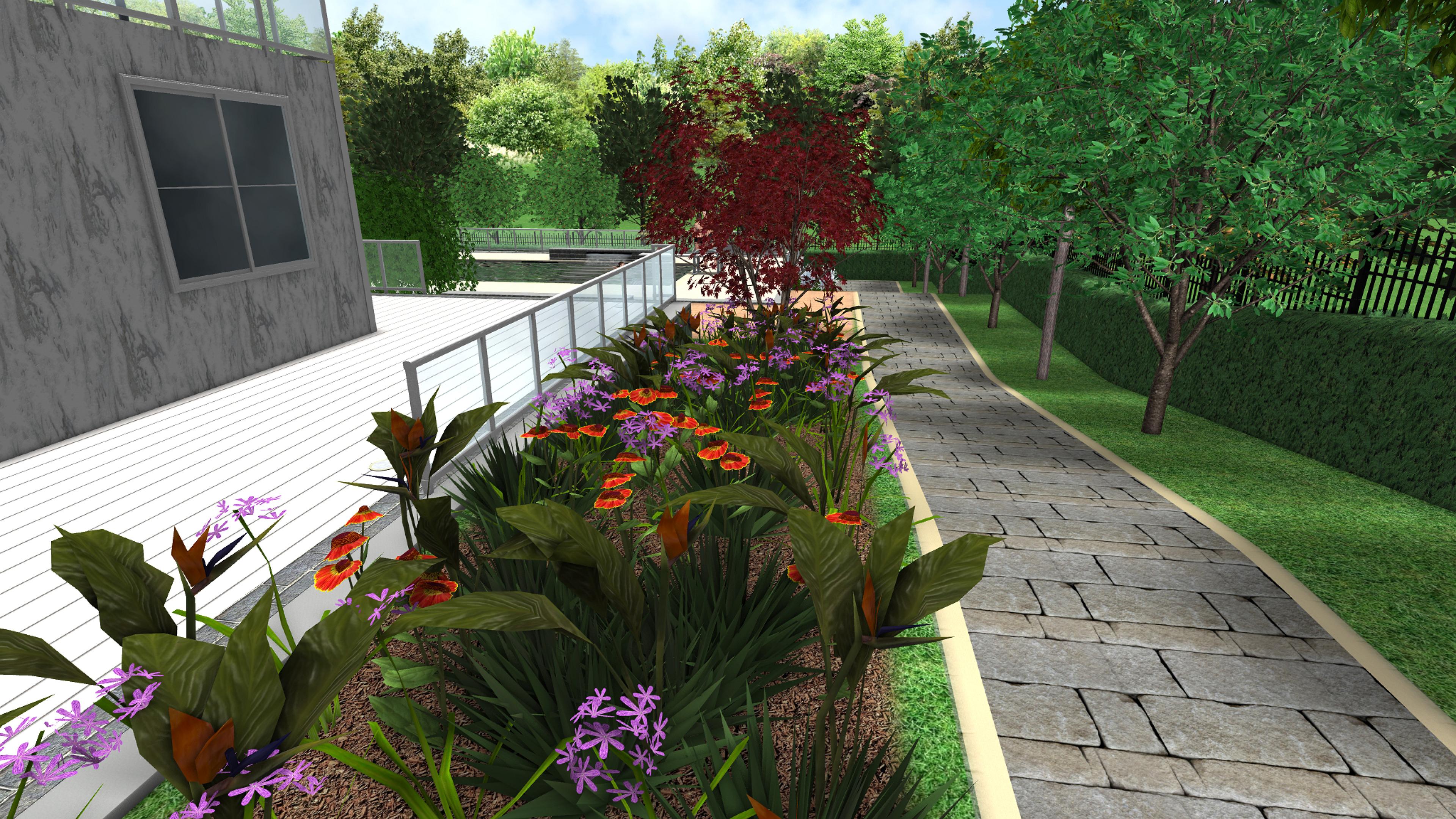 camino pavimentado, elementos de diseño 3D, jardinería